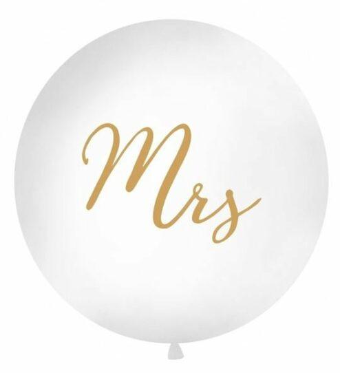 Riesenluftballon mit goldenem 'Mrs' Aufdruck