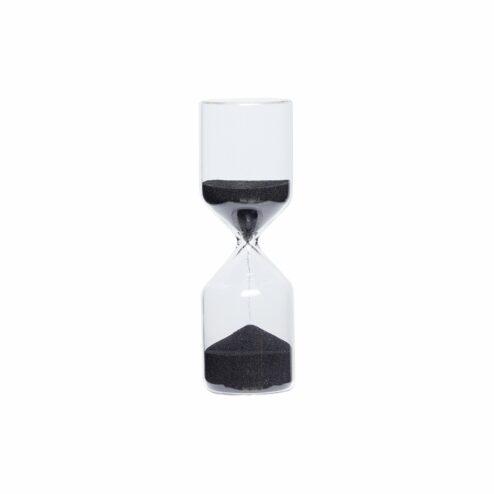 Sanduhr aus Glas mit schwarzem Sand, 30 Minuten