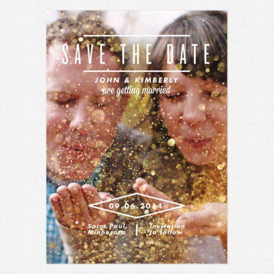 Sonntagshäppchen: Glitzer Save the Date Karte zum Advent