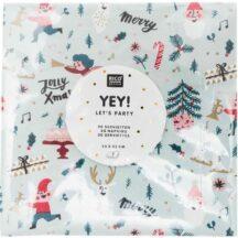 Papierserviette schilffrün mit kleinen weihnachtlichen Motiven, 20 Stück, 33 x 33cm
