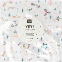 weiße Papierserviette mit kleinen weihnachtlichen Motiven, 20 Stück, 33x33cm