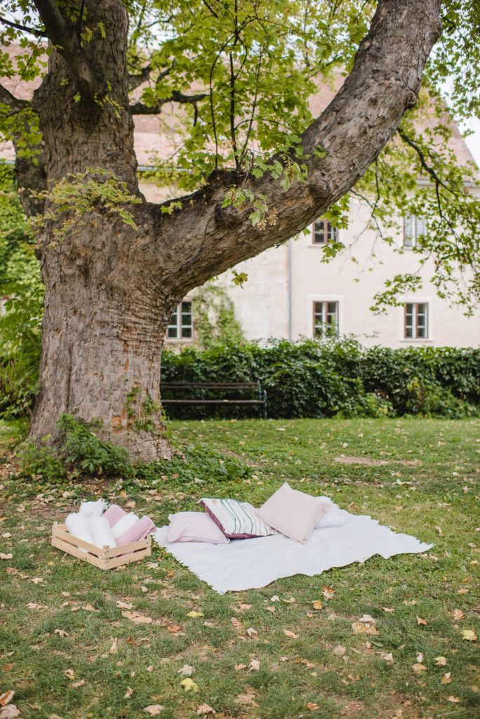 Picknickdecke unter einem Baum