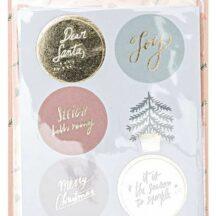 Sticker rund Merry Christmas mit Goldfolienprägung