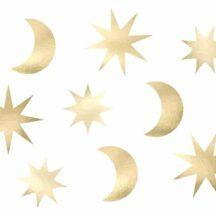 großes Mond und Sterne Konfetti, Farbe Gold, Inhalt 9 Stück