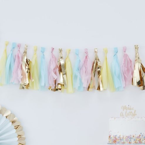 Tassel Girlande in pastell Farben und Gold