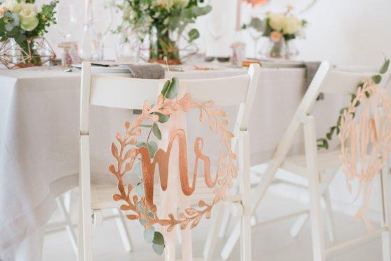 Hochzeitsdekoration in Roségold