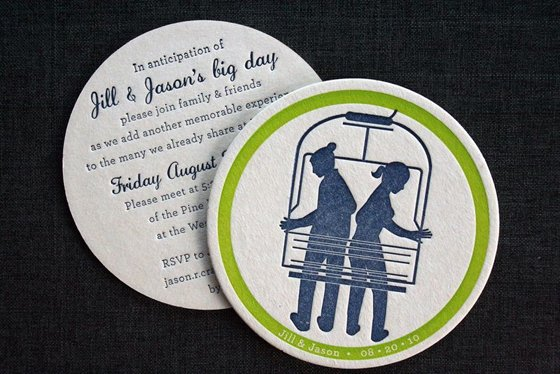 Sonntagshäppchen: Letterpress Einladungskarten für eine Hochzeit im Winter