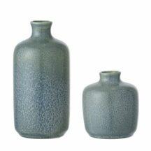 Vasen im 2er Set aus Steingut. Farbe blau-grau