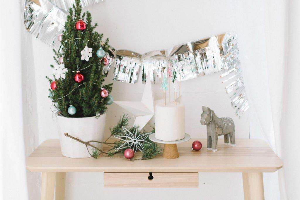 Torte und Deko Weihnachten pastell