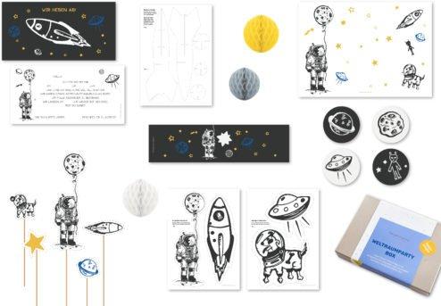 Dekoration für Kindergeburtstag, Thema Weltraum, Deko für 10 Kinder